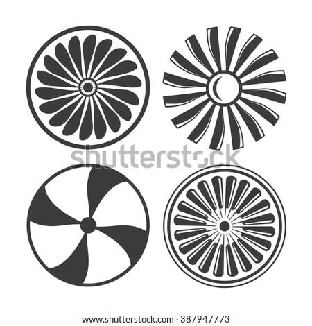 Jet Engine Icons Set Turbine Icons เวกเตอร์สต็อก 387947773