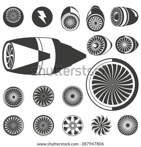 Jet Engine Icons Set Turbine Icons Stock Vector 387947806