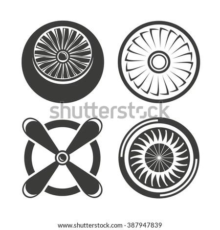 Jet Engine Icons Set Turbine Icons Stock Vector 387947839
