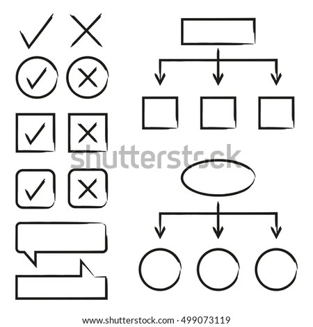 Hand Drawn Arrows Circle Rectangle Flowchart Stock Vector