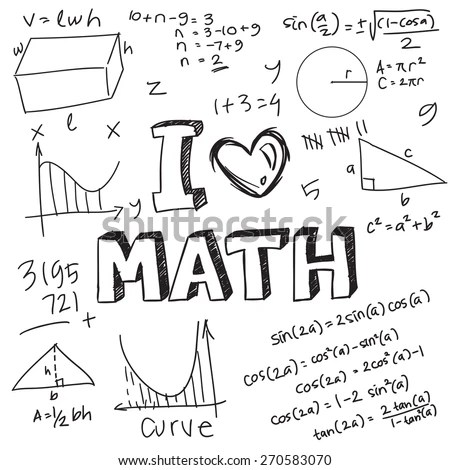 Vector Illustration Math Formulas Drawn Doodle Stock