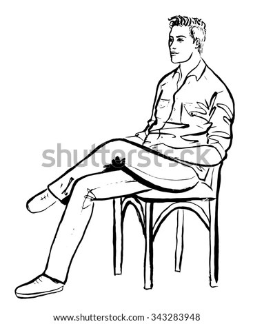Black White Vector Illustration Police Interrogation Stock