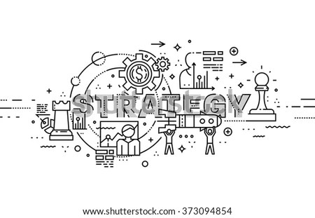 Flat Style Thin Line Art Design Stock Vector 372183430