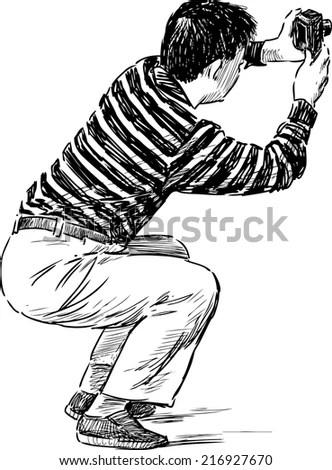 Man Reading Newspaper Retro Clip Art Stock Vector 60643105