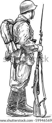 Man Form Soldier Second World War Stock Vector 599465696