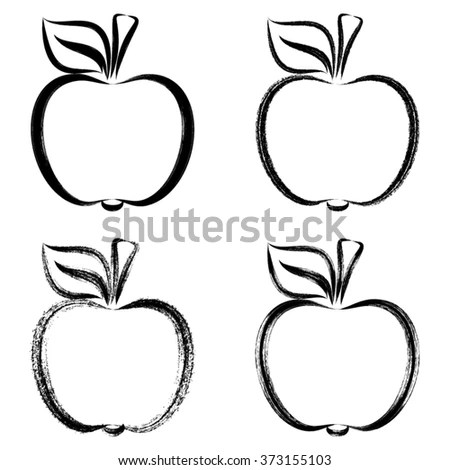 Black Vector Brush Strokes Apples Outlines Stock Vector