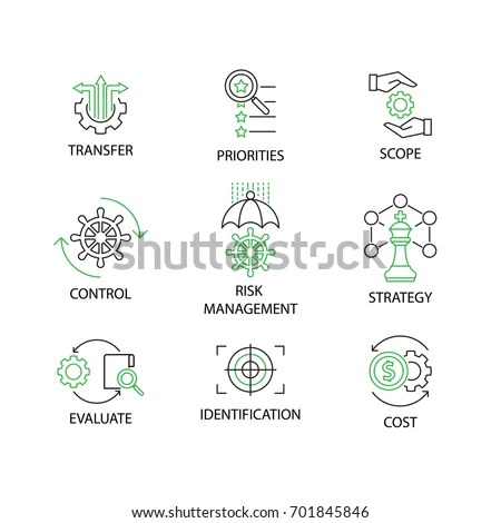 Modern Flat Thin Line Icon Set Stock Vector 701845846
