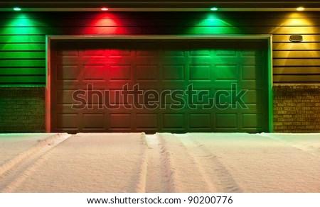 Multicolored Garage Door Snowy Driveway Red Stock Photo