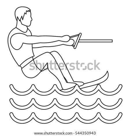 Water Ski Icon Outline Illustration Water Stock Vector
