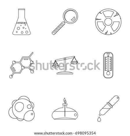 Chemical Laboratory Icons Set Outline Illustration Stock