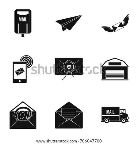 Vector Set Post Office Icons Postman Stock Vector