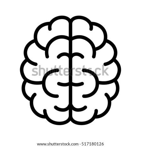 Brain Mind Intelligence Line Art Icon Stock Vector