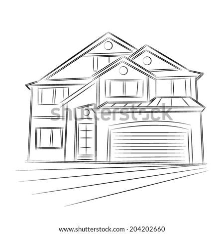 Little Wooden House Outline Stock Illustration 47544556