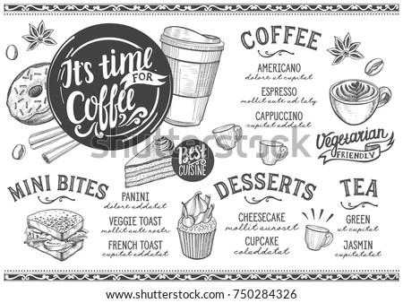 Coffee Drink Menu Restaurant Cafe Design Stock Vector
