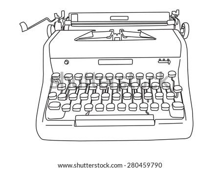 Portable Manual Typewriter Wood Grain Line Stock