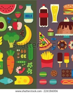 Healthy food and fast also stock vector royalty free rh shutterstock
