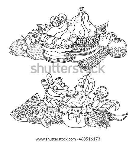 Vector Se Dessert Composition Doodle Style Stock Vector