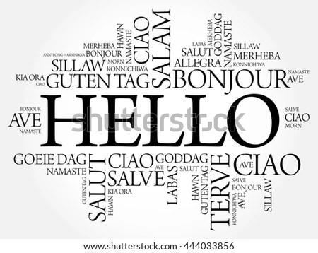 Hello Word Cloud Different Languages World Stock Vector