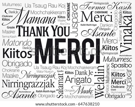 Merci Thank You French Word Cloud Stock Vector 647638210