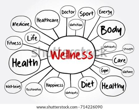 Wellness Mind Map Flowchart Business Concept Stock Vector
