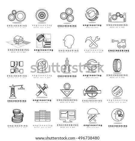 Engineering Simple Icons Machine Engineers Architect Stock