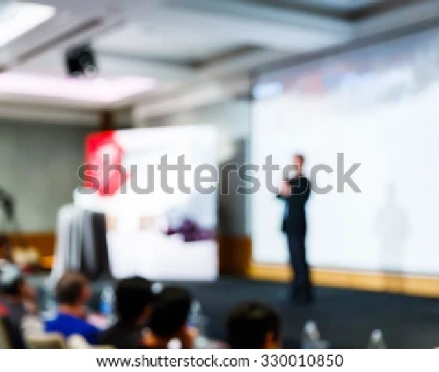 Abstract Blurred People In Press Conference Room Business Concept Official New Product Launches