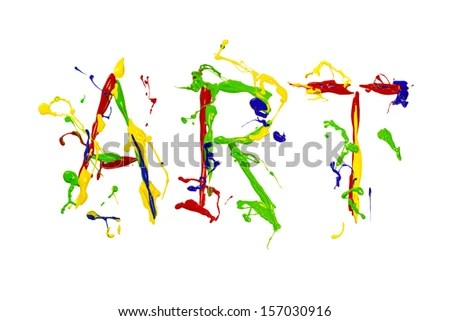 Multicolor Paint Splash Painted Word Art Stock Photo