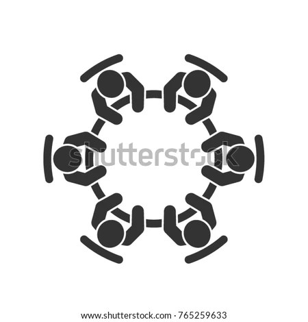 Meeting Vector Icon Group Six Business Stock Vector