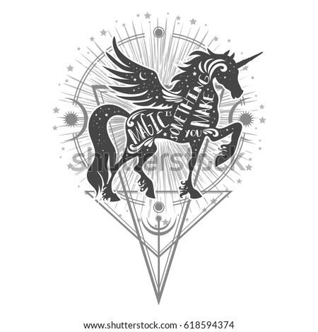 Magic Unicorn Silhouette Inspirational Quote Let Stock