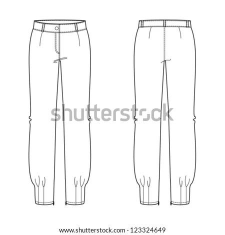 Womans Evening Trousers Technical Drawing Stock Vector