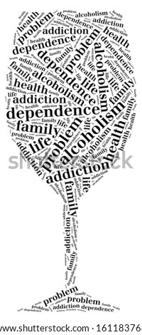 Tag or word cloud alcohol addiction related in shape of
