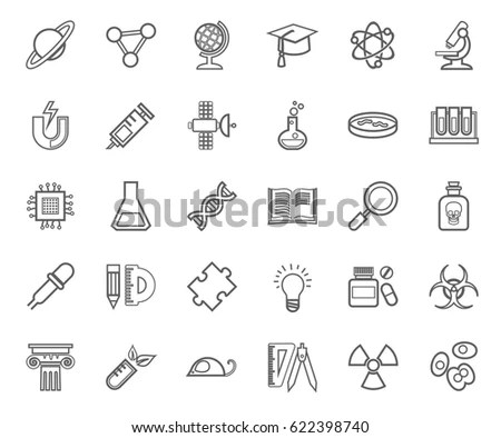 Science Seamless Pattern Vector Thin Line Stock Vector