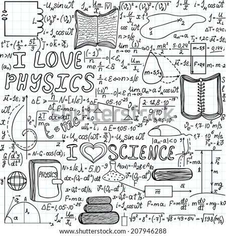 Scientific Physical Vector Seamless Pattern Words Stock