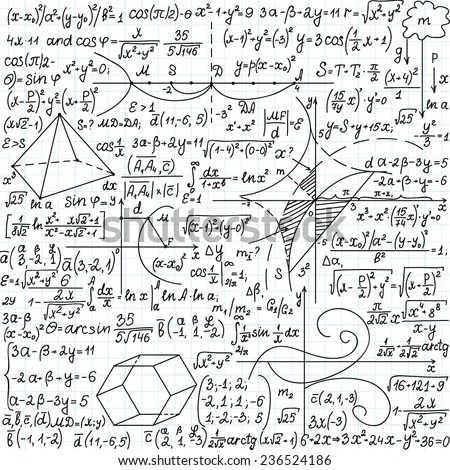 Mathematical Vector Seamless Pattern Formulas Plots Stock