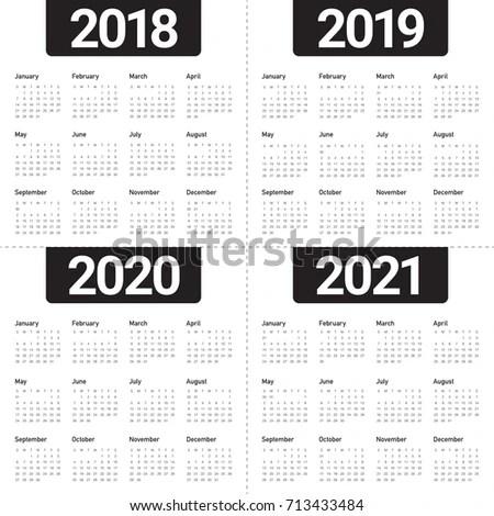 Year 2018 2019 2020 2021 Calendar Stock Vector 711305530