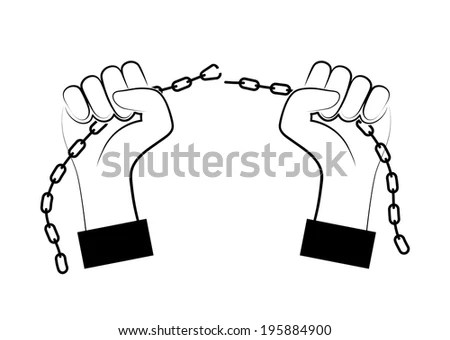 Chains Broken Off By Hands Stock Illustration 195884900