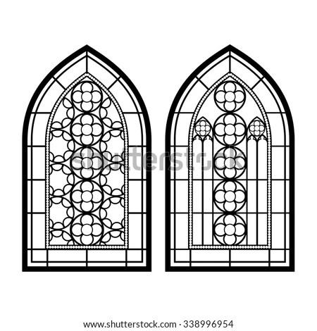 Gothic Windows Vintage Frames Church Stainedglass Stock