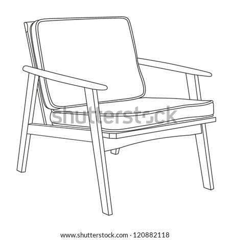 Chair Icon Classic Chair Outline Contour Stock Vector