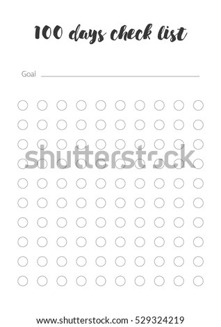 100 Days Check List Vector Template Stock Vector 529324219