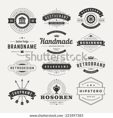 Retro Vintage Insignias Logotypes Set Vector Stock Vector