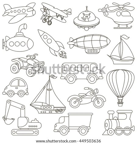 Toy Transport Set Be Colored Coloring Stock Vector