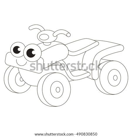 Funny Quad Bike Cartoon Outlined Vehicle Stock Vector