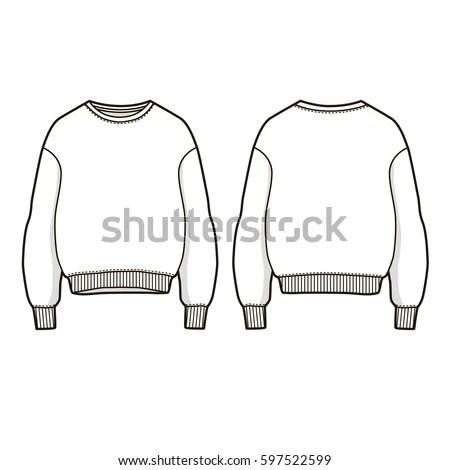 Trendy Women Sweatshirt Vector Sweatshirt Template Stok