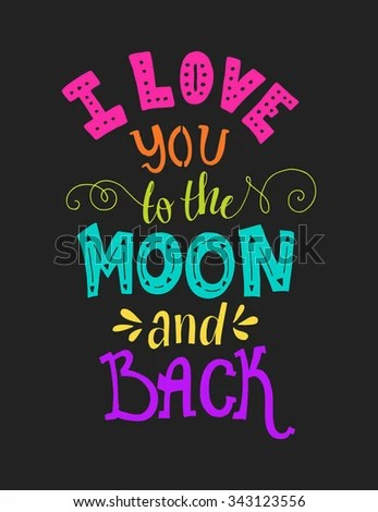 Download Love You Moon Back Typographical Poster Stock Vector ...