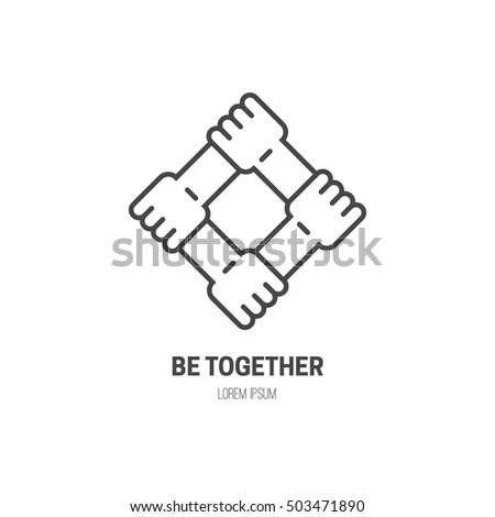 Four Connected Hands Symbol Togetherness Vector Stock