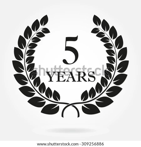 5 Years Anniversary Laurel Wreath Sign Stock Vector
