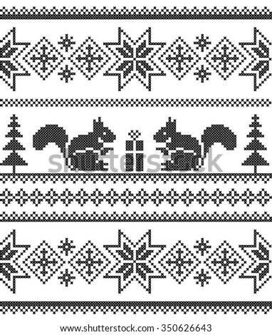 Winter Scheme Knitting Embroidery Seamless Pattern Stock