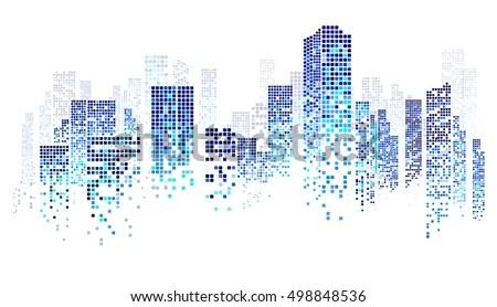 City Scene On Night Time Cityscape Stock Vector 498848536