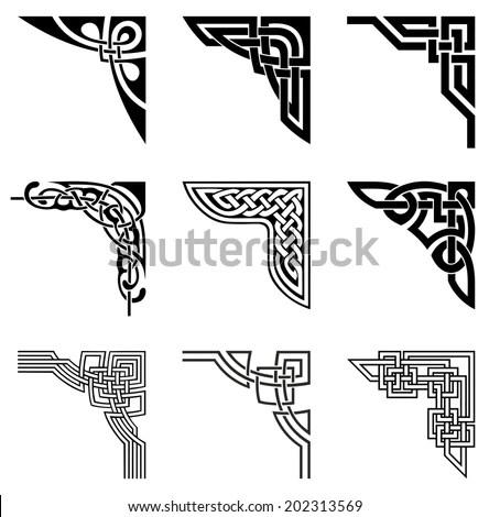 Set Ornamental Corners Celtic Style Stock Vector 202313569