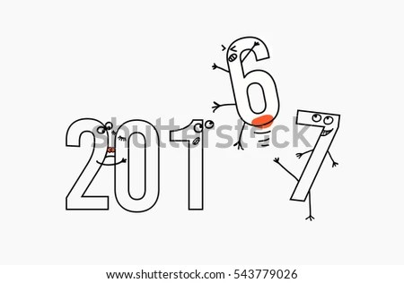 2017 Flat Line Design Concept Greeting Stock Vector